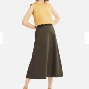 NEW ✨ Uniqulo Cotton Linen Midi Skirt Olive